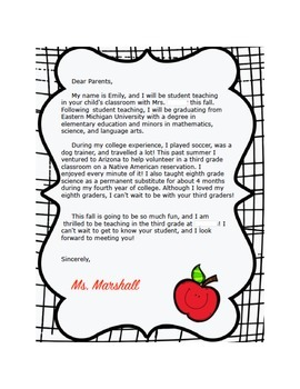 Example Letter to Parents from Student Teacher by TeachStation | TpT