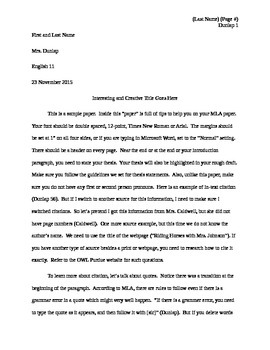example mla paper by dunlap s english teachers pay teachers