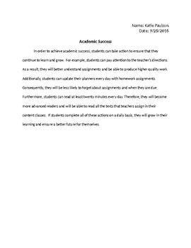 Example Paragraph to Identify Topic Sentence, Transitions, Conclusion Sentence