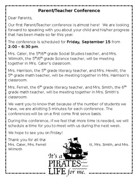 Example parent teacher conference letter by sarah hewitt tpt example parent teacher conference letter spiritdancerdesigns Images