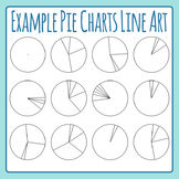 Example Pie Charts / Pie Graphs Line Art Black and White Clip Art Commercial Use