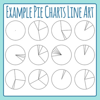 Example Pie Charts / Pie Graphs Line Art Black and White C