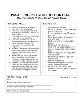 Example Pre-AP Contract