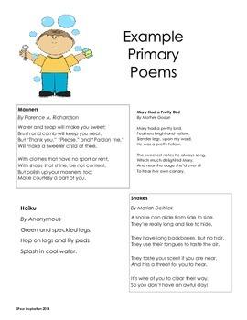 Example Primary Poems