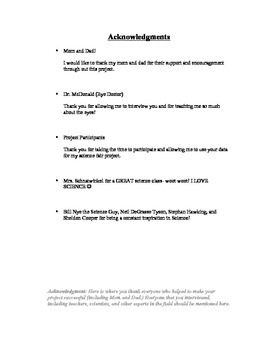 Example Written Report for Science Fair