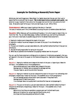 Example for Outlining a Research or Term Paper