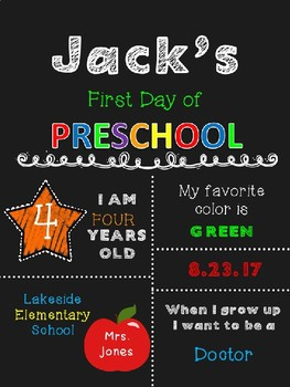 Example of First Day of School Sign