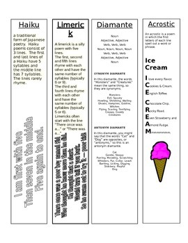 Examples of Poems Bookmarks