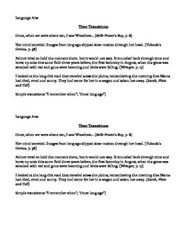 Examples of Time for Transitional Phrases