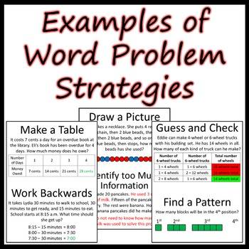 Examples of word problem strategies