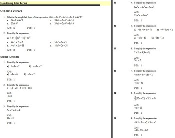 Examview: Combining Like Terms (with and without use of Distributive Property)