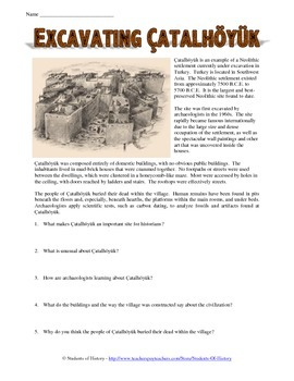 Neolithic Settlement Archaeology Reading Worksheet