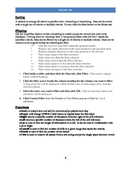 "Excel ""103"" Handout Packet For Intermediate"