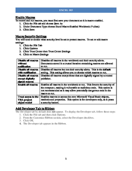 """Excel """"103"""" Handout Packet For Intermediate"""