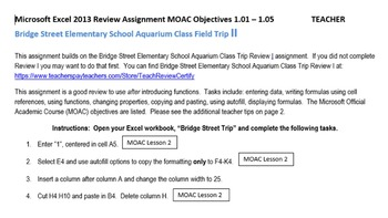 Excel 2013 Review Formulas & Functions: Bridge Street Field Trip II