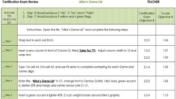 Excel 2013 Review/MOS Exam Review:  Mike's Game List