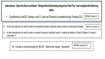 Excel 2013 Review Simple Formulas: Bridge Street Field Trip I