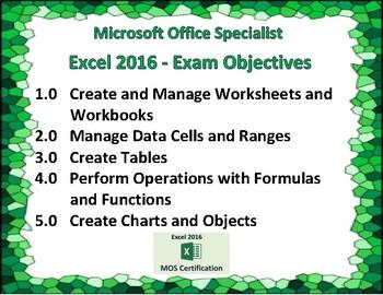 Excel 2016 Exam Prep Poster
