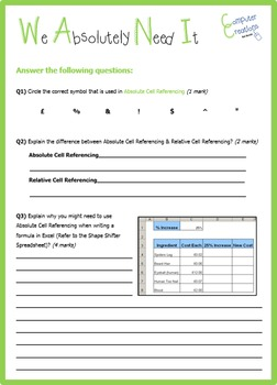Excel - Spreadsheets Absolute Cell Referencing