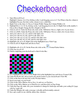 Excel Activity - Create a Checkerboard