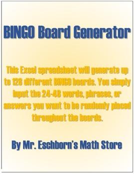 Excel Bingo Board Generator