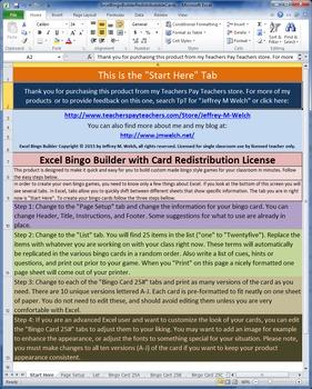 Excel Bingo Builder Limited Redistribution License