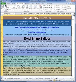 Excel Bingo Builder Single Classroom License