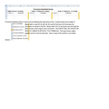 Excel Converstions worksheet