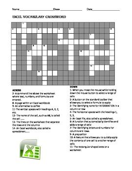 Excel Crossword & Label Parts of Screen