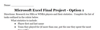 Excel - Final Project (two options)