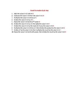 Excel Formula Quiz