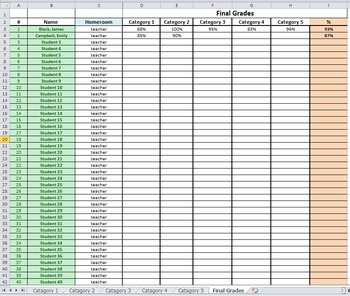 Excel Grade Book - multiple grading catagories for one subject