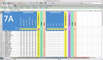 excel grade book spreadsheet for secondary with graphs by peter lindsay