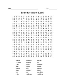 Excel Introduction Word Search/Unscramble