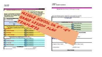 Middle School Lesson Plan Templates with ELA and Math Drop-Lists