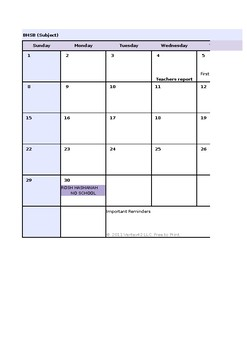 Excel Planning Calendar 2019-2020