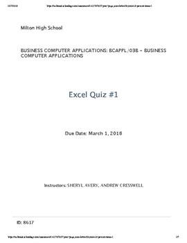 Excel Quiz #1