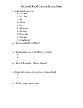 Excel Quiz #1 Review Sheet