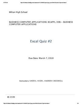 Excel Quiz #2