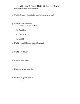 Excel Quiz #2 Review Sheet