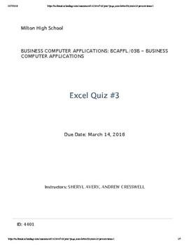 Excel Quiz #3