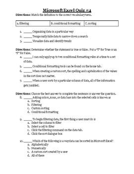 Excel Quiz #4
