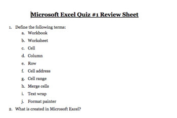 Excel Quizzes & Review Sheet Bundle