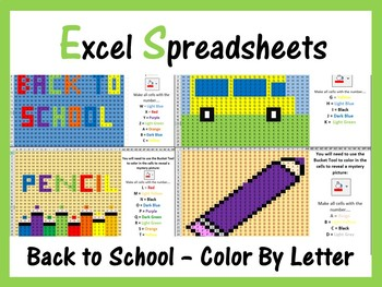 Excel Spreadsheets: Back To School Mystery Pictures - Color By Letters A-Z