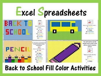 Excel Spreadsheets: Back To School Mystery Pictures Fill Color, Numbers 1 - 29