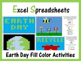 Excel Spreadsheets Earth Day Mystery Pictures Fill Color - Computer Lab