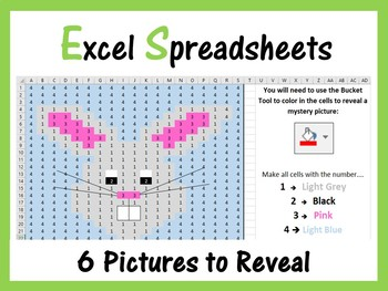 Excel Spreadsheets Easter Mystery Pictures Fill Color - Computer Lab