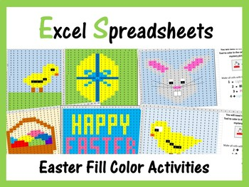 excel spreadsheets easter mystery pictures fill color computer lab