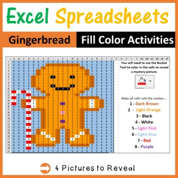Excel Spreadsheets Gingerbread Mystery Pictures Fill Color Pixel Art