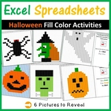 Excel Spreadsheets Halloween/Fall Mystery Pictures Fill Color - Computer Lab